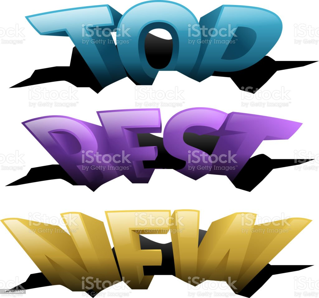 3D Words in holes royalty-free stock vector art