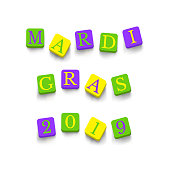 Words Mardi Gras 2019 with colorful blocks isolated on a white background