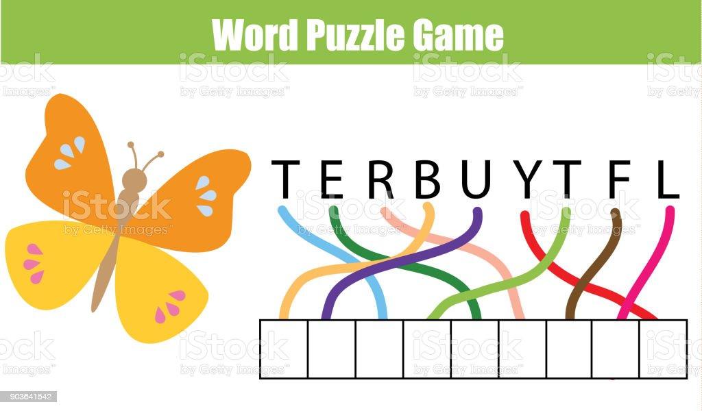 Wörter Puzzle Lernspiel Für Kinder Legen Sie Die Buchstaben In Der