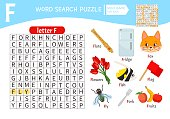 Words puzzle children educational game.