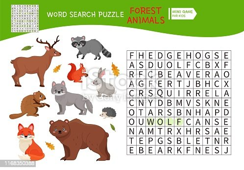Words puzzle children educational game. Place the letters in right order. Learning vocabulary. Forest animals.