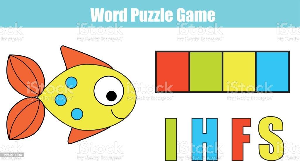 Wörter Puzzle Kinder Lernspiel Mit Bunten Code Legen Sie Die ...