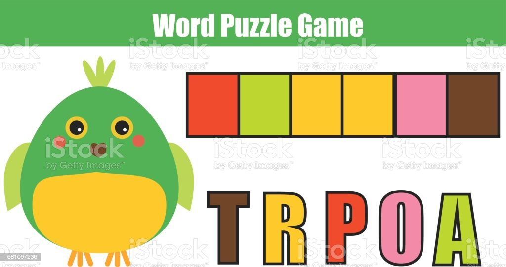 Words puzzle children educational game with colorful code. Place the letters in right order. Learning vocabulary. Match letters with color royalty-free words puzzle children educational game with colorful code place the letters in right order learning vocabulary match letters with color stock vector art & more images of 2-3 years
