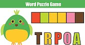 Words puzzle children educational game with numbers code. Place the letters in right order. Learning vocabulary. Match alphabet letters and colors. Animals theme worksheet