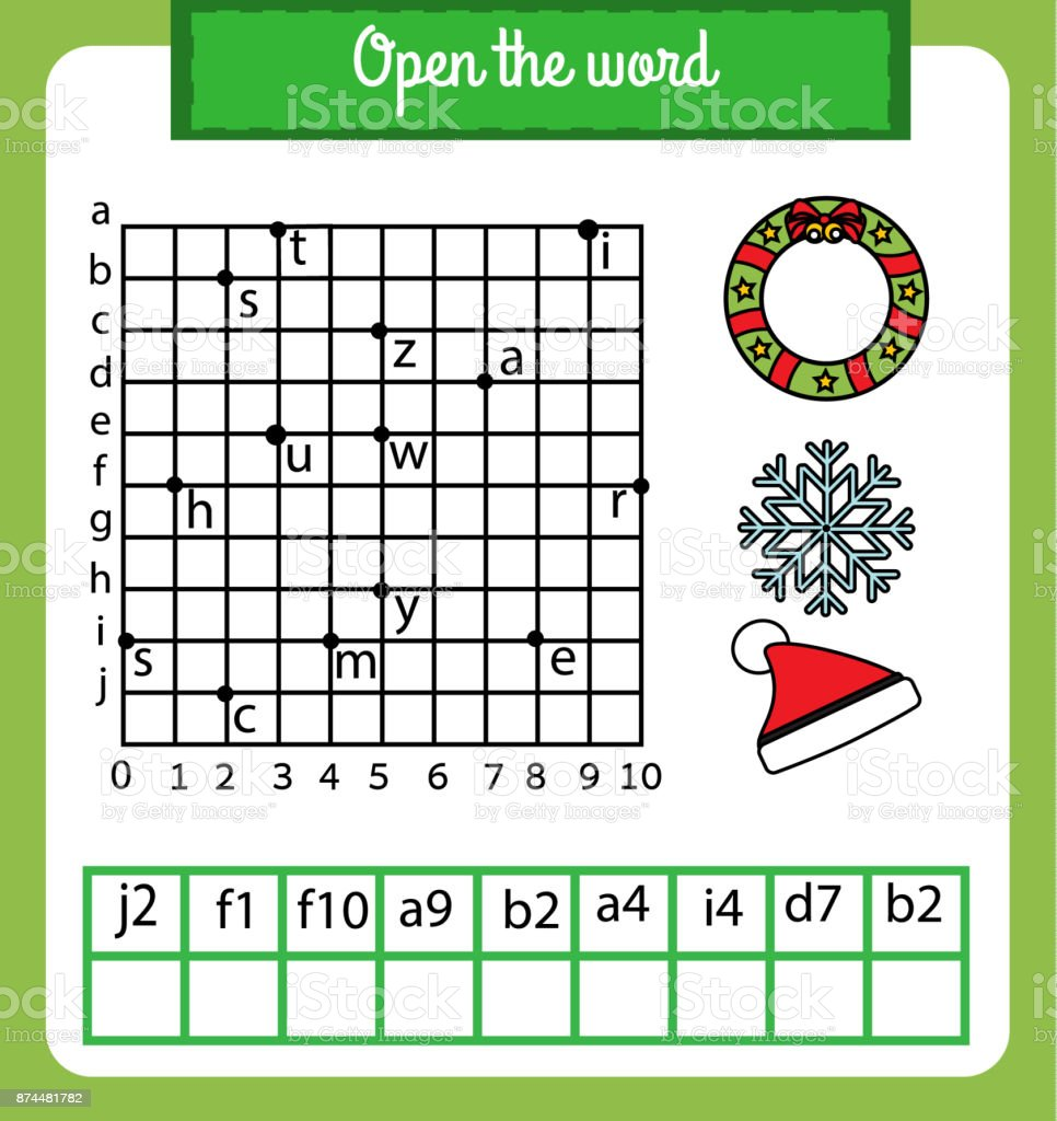 Words Puzzle Children Educational Game With Coordinate Grid Place