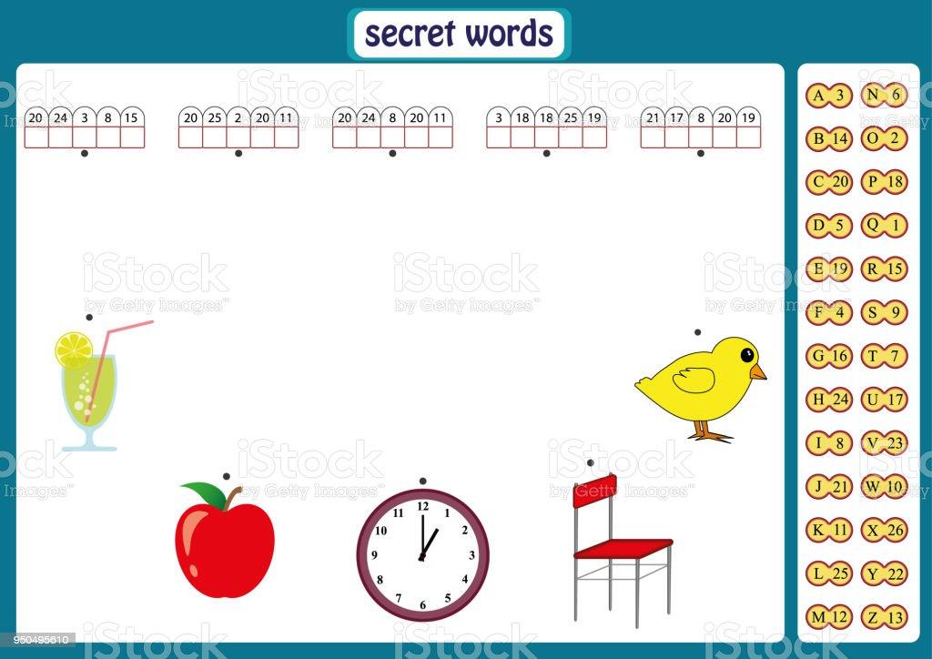 Ilustración de Palabras De Puzzle Para Niños Juego Educativo Con El ...
