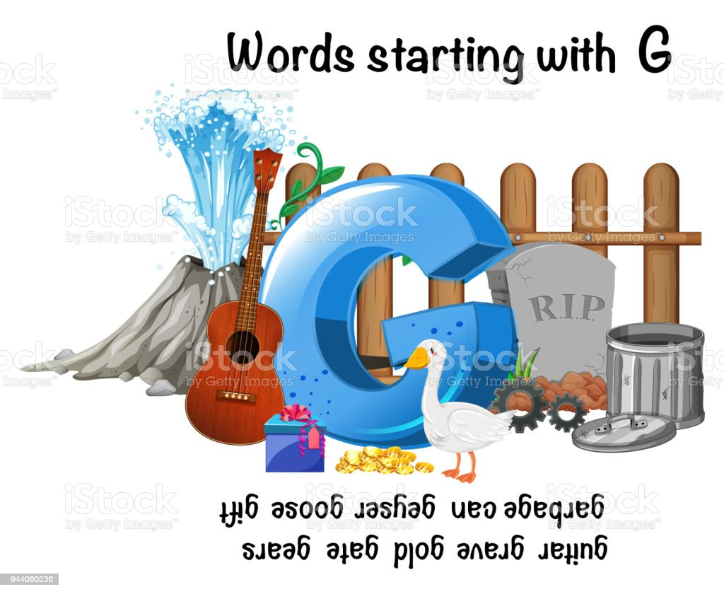 Words Starting With Letter G Stock Vector Art More Images Of
