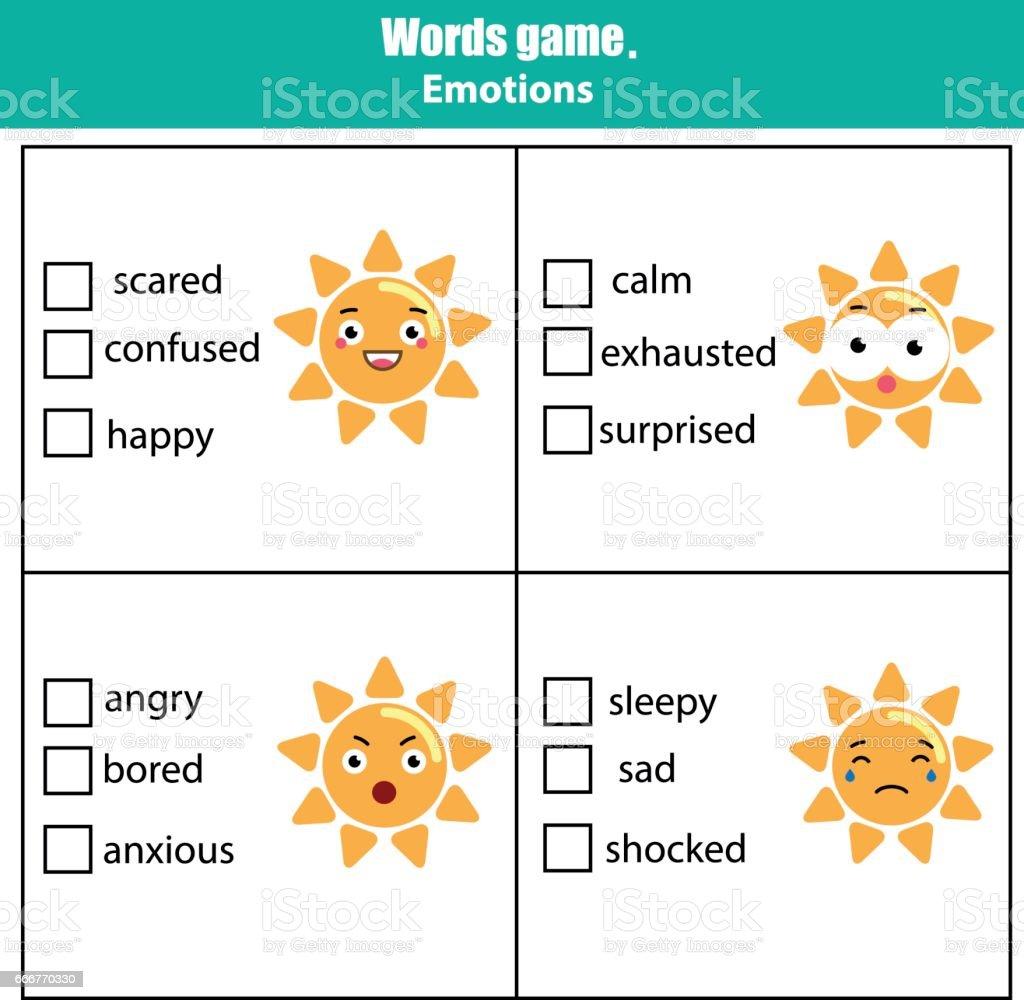 Words test educational game for children. Emotions theme words test educational game for children emotions theme - immagini vettoriali stock e altre immagini di 2-3 anni royalty-free