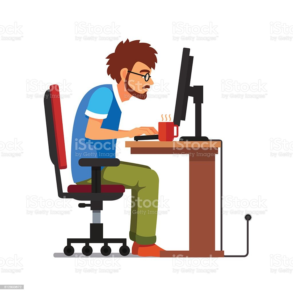 Work addict geek sitting at the computer desk vector art illustration