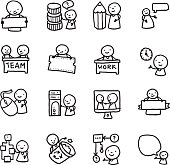A set of hand drawn doodle icons relating to work, being at work and communication.