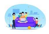 Busy Father Working on Laptop in Living Room at Home. Daughters Want to Play with Dad. Son Kicking Ball. Mother Come Down on Kids. Flat Cartoon Happy Family Vector. Parents and Children Illustration.