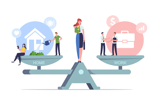 Work and Home Balance Concept. Tiny Characters Balancing on Huge Scales with Basic Values. Woman Separated on Two Halves