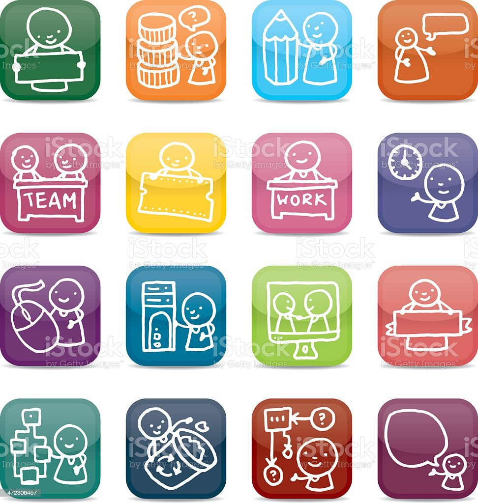 Work and job app style icon set royalty-free work and job app style icon set stock vector art & more images of banner - sign