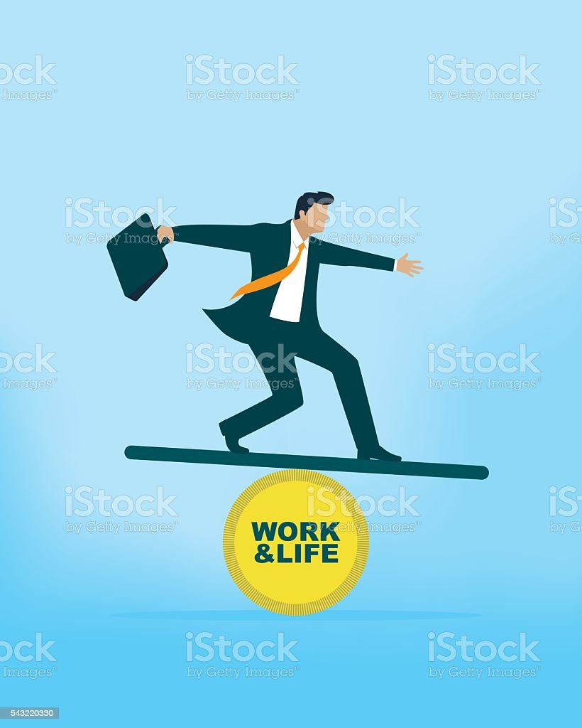 Work and Life Balance vector art illustration