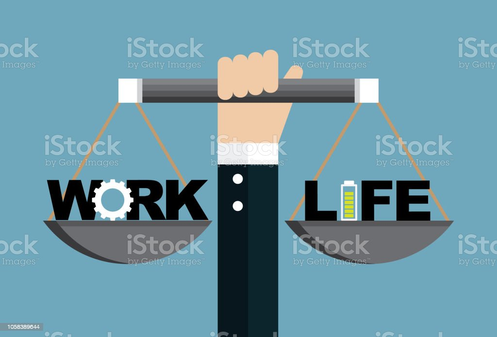 Work and life vector art illustration