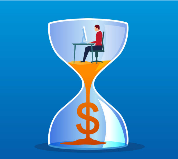 Work and money Businessman working in hourglass wages stock illustrations