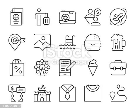 istock Work and Travel - Light Line Icons 1187294512