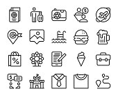 Work and Travel Line Icons Vector EPS File.