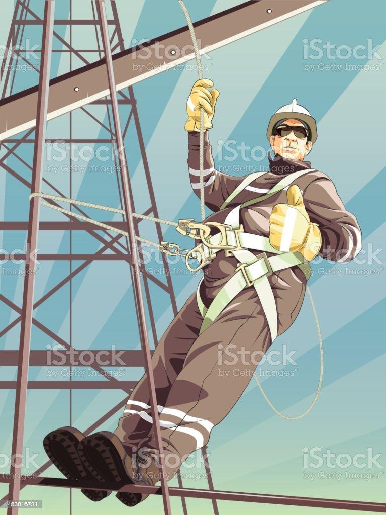 work at height vector art illustration