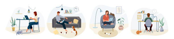 illustrazioni stock, clip art, cartoni animati e icone di tendenza di work at home concept design. freelance woman and man working on laptop with pets at their house, dressed in home clothes. vector illustration set isolated on white background - guy sofa