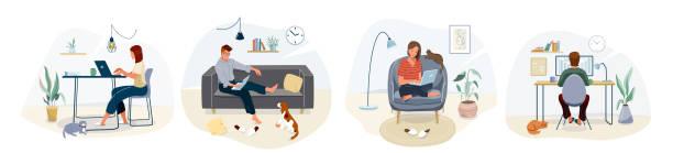 ilustraciones, imágenes clip art, dibujos animados e iconos de stock de trabajar en el diseño de concepto de hogar. mujer y hombre autónomos que trabajan en la computadora portátil con mascotas en su casa, vestidos con ropa de casa. ilustración vectorial aislada sobre fondo blanco - comfortable