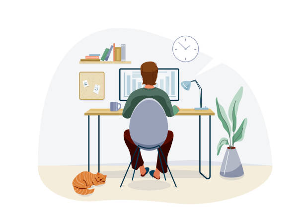 Work at home concept design. Freelancer man working on computer at his house office and striped red cat pet near him. Vector illustration isolated on white background vector art illustration