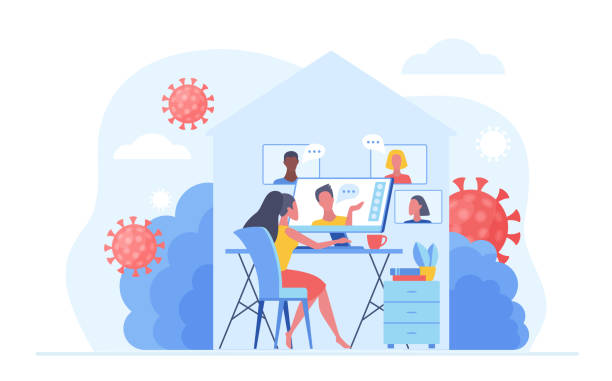 Work at home during COVID-19 quarantine virus to prevent a viral infection. People working online, video meeting conference and chat at home. Social-distance concept vector illustration. vector art illustration