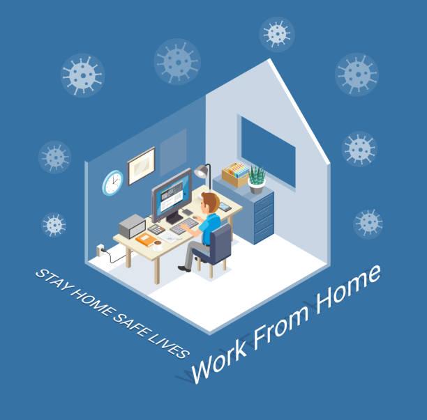 Arbeit zu Hause isometrisch – Vektorgrafik