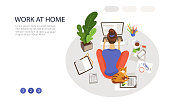 Work at home landing page vector template. Remote job webpage design layout with flat illustrations. Young woman working with laptop. Freelance website, web banner color concept