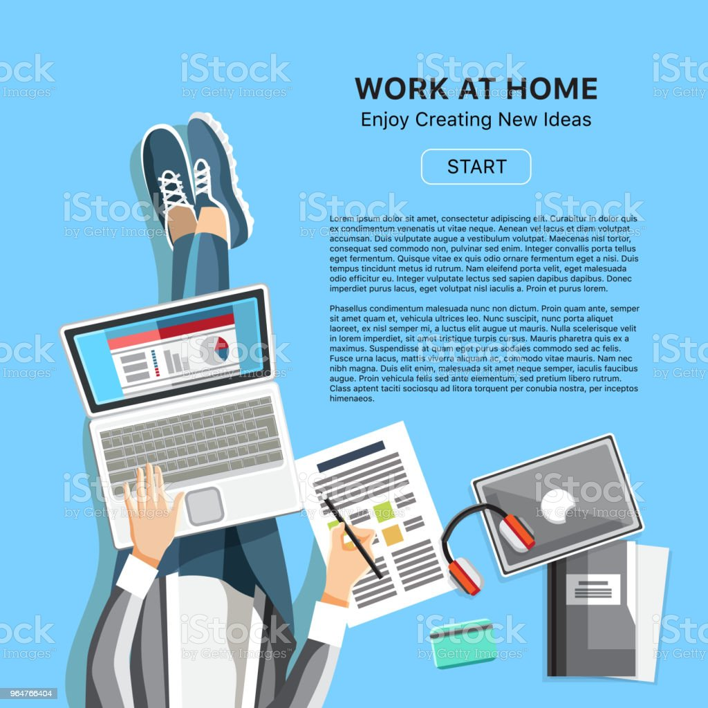 Work at home office concept with man royalty-free work at home office concept with man stock vector art & more images of above