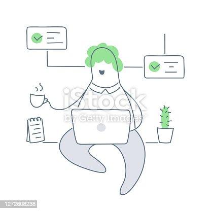 Trabalhar em casa, ou em um escritório aconchegante, trabalho remoto e gestão de processos - Vector