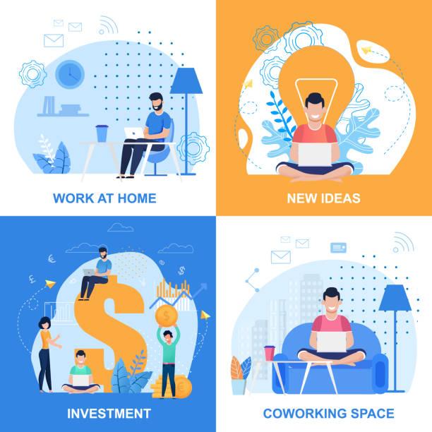 Arbeiten zu Hause oder im Büro, Ideen erstellen, Eingabeta-Set – Vektorgrafik