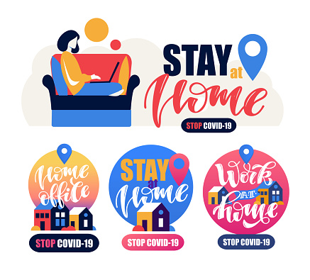 Work At Home Slogan Lettering Typography Poster With Text For Self Quarine Time Home Office Hand