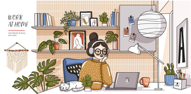 Work at home! Vector cute illustration of Coronavirus quarantine, self isolation. Woman working laptop in comfortable workplace, modern interior, cat, decor and plants. Drawings of home Office vector art illustration