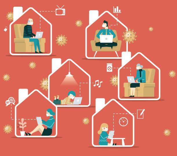 illustrazioni stock, clip art, cartoni animati e icone di tendenza di work at home - businessman covid mask