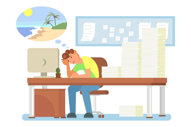 Work burnout concept vector flat style design illustration Overworked tired office man sitting at table in front of computer with head reclined upon his hand, vector flat illustration. Work burnout, mental fatigue, emotional exhaustion, work related stress. overworked stock illustrations