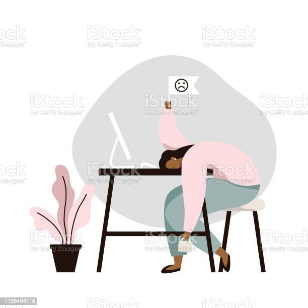 Work burnout tired female worker sitting at the table long working vector id1159404116?b=1&k=6&m=1159404116&s=612x612&h= c80cidz7k zlrbtte gfodxwmdbxpg5keqy4ubukgg=