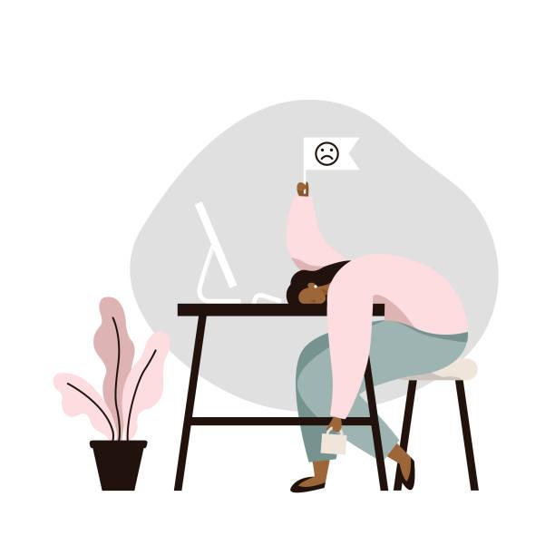 ilustrações, clipart, desenhos animados e ícones de trabalho de burnout. trabalhador fêmea tired que senta-se na tabela. longo dia de trabalho no escritório. problema de saúde mental. - work