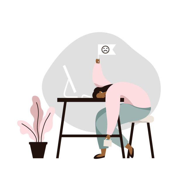 illustrazioni stock, clip art, cartoni animati e icone di tendenza di work burnout. tired female worker sitting at the table. long working day in the office. mental health problem. - lavoro