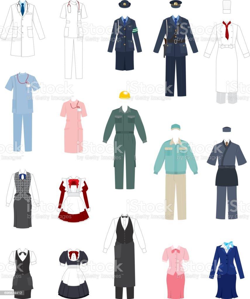 Work clothes vector art illustration