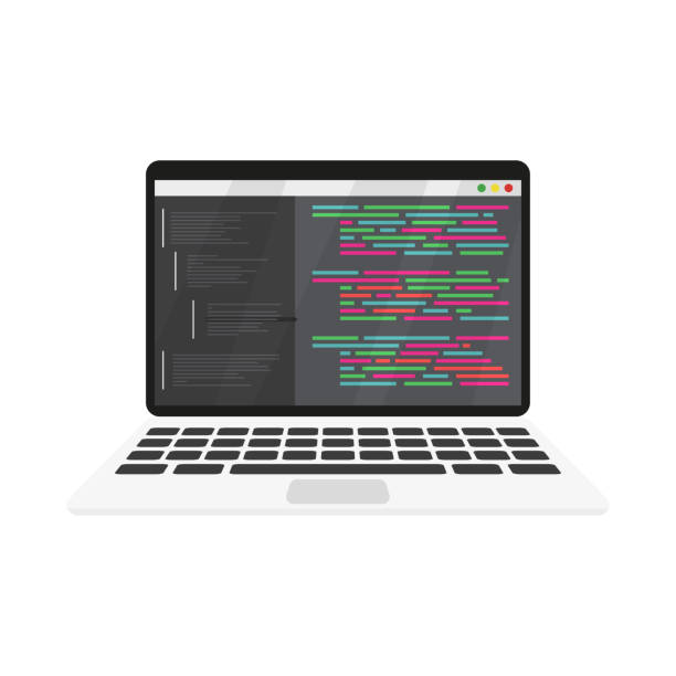 work coding and programming on a laptop work coding and programming on a laptop, vector php programming language stock illustrations