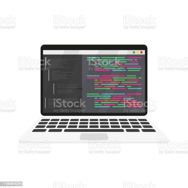 Work Coding And Programming On A Laptop Stock Illustration - Download Image Now