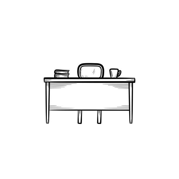 arbeit desk hand gezeichnete skizze-symbol - schultische stock-grafiken, -clipart, -cartoons und -symbole