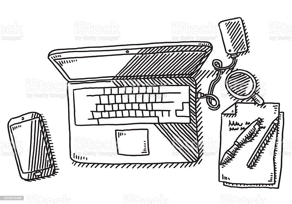 Escritorio port til vista a rea de dibujo illustracion - Mesa de dibujo portatil ...