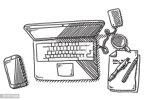 Hand-drawn vector drawing of a Work Desk with a Laptop, Overhead View. Black-and-White sketch on a transparent background (.eps-file). Included files are EPS (v10) and Hi-Res JPG.