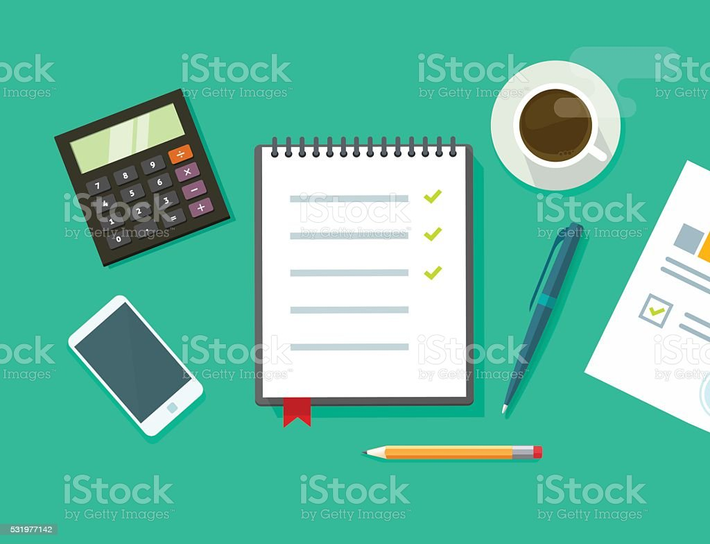 Work desk vector illustration, business office workplace flat table concept vector art illustration