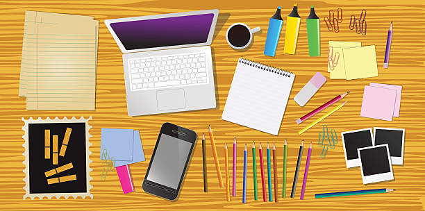 Work desk with office stationery, vector vector art illustration