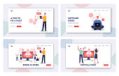 istock Work Error Landing Page Template Set. Tiny Male and Female Characters Hold Gadgets. Website 404 Page Not Found 1294349615