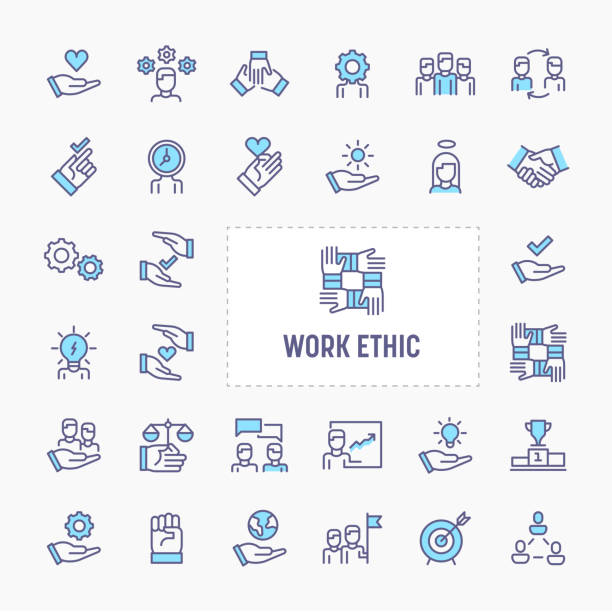 Work Ethic Minimal Icon Set Teamwork, morality, proficiency, optimism and empathy  - thin line website, application & presentation icon. simple and minimal vector icon and illustration collection. dignity stock illustrations