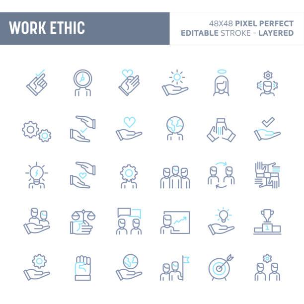 illustrazioni stock, clip art, cartoni animati e icone di tendenza di work ethic minimal vector icon set (eps 10) - dilemma morale